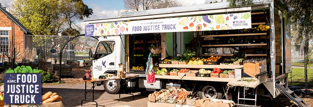 Come down to the Food Justice Truck in Footscay, Thomastown, Dallas and Melbourne CBD