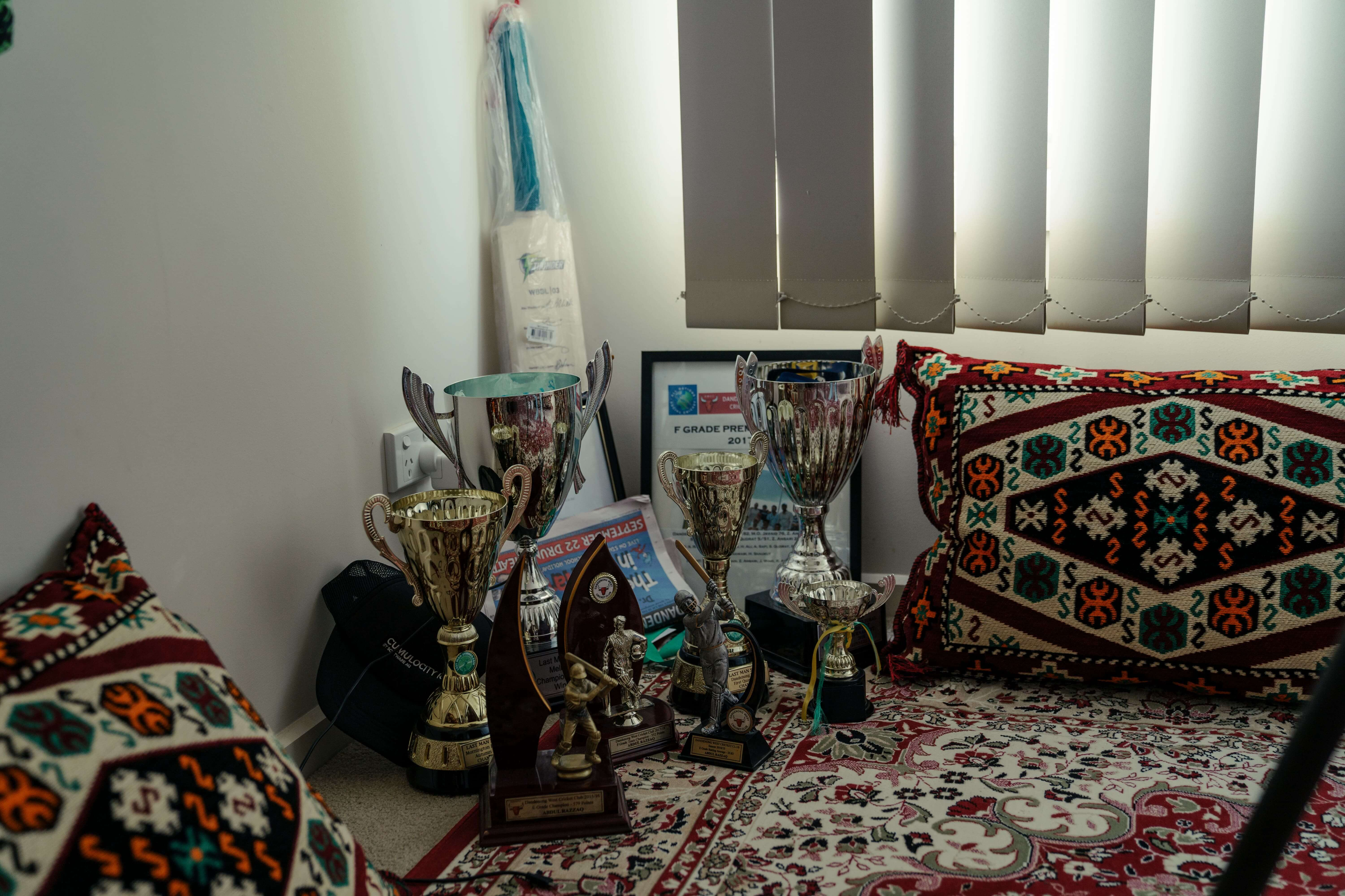 Group of cricket trophies