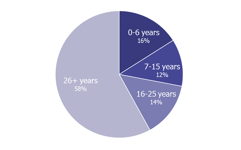 Chart of SRSS Recipients by Age