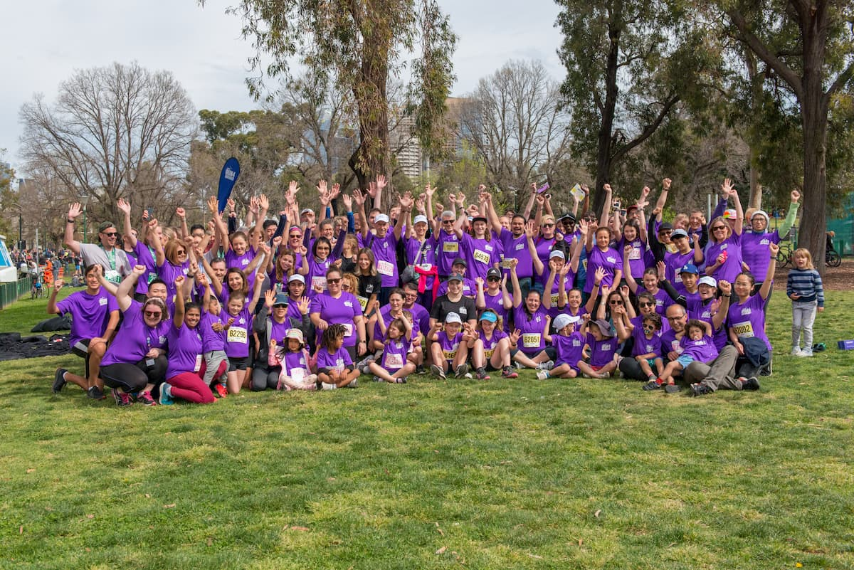 Large group of ASRC participants in Run 4 Refugees - Melbourne Marathon