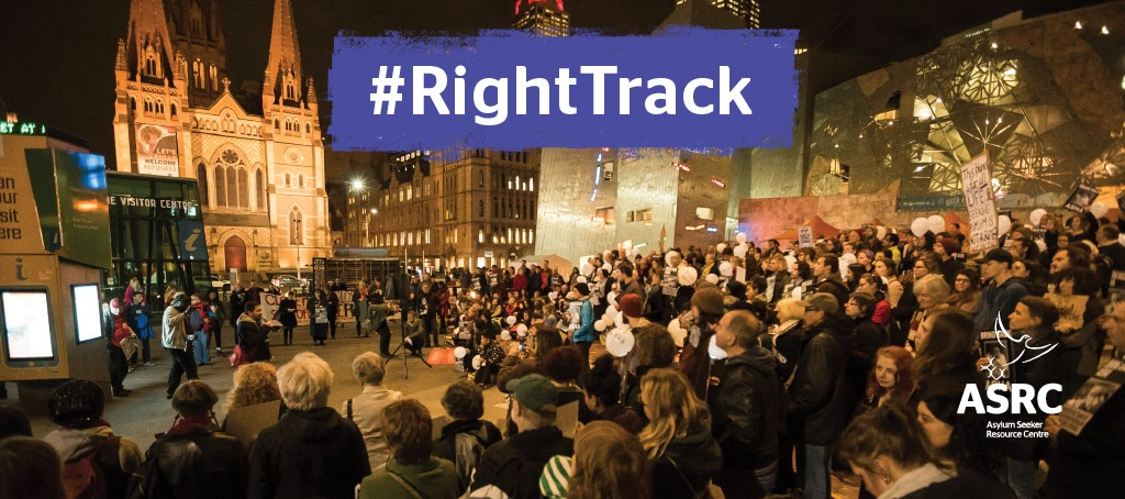 Crowd at Melbourne's Federation Square - RightTrack Refugee Justice
